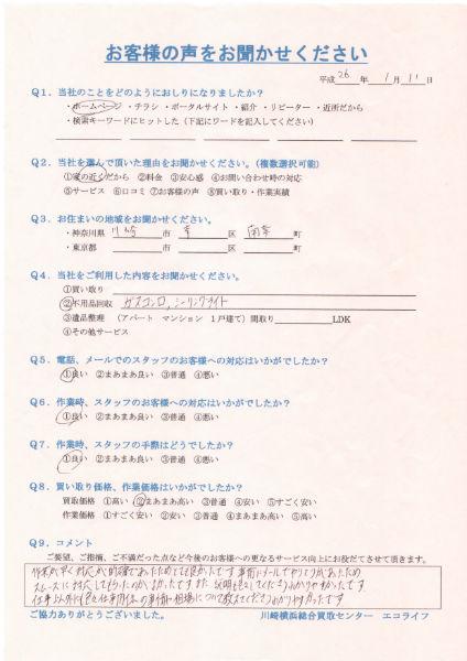 川崎市幸区南幸町の女性からガスコンロ、シーリングを買取致しました!!26・1・11