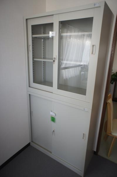 スチール書庫 鍵付き 2段 オフィス家具