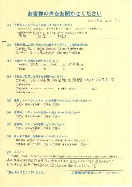 川崎市中原区北加瀬のI様から引越しのため不要家電買取いたしました!!