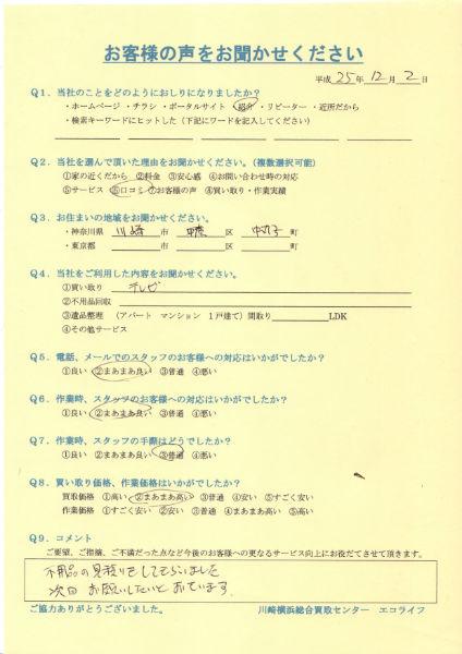 川崎市中原区中丸子のW様から液晶テレビを買い取りいたしました!!