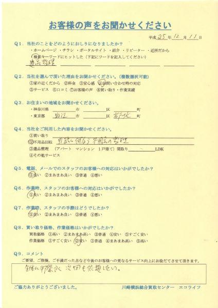 東京都狛江市岩戸北のT様より不用品回収をいたしました!!25・12・11